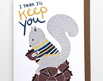 Funny Valentine's Card, Funny Love Card, Squirrel Card, Friend or Love Card for Him or Her, Simple Friend Card