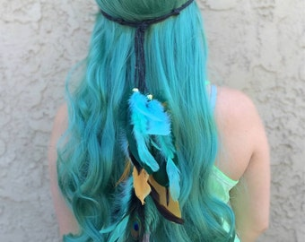 Feather Headband - Teal Turquoise Black Gold Feathers - Festival Headband - Hippie Headband - Hair Accessories - Bohemian