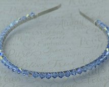 Blue Swarovski crystal hairband.Ideal for a Bridesmaid or prom or to add colour and sparkle to your day. Choice of 16 sparkling blue shades.