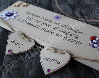 Bespoke/personalised handmade wooden plaque, colleague/Friend plaque with two hearts