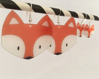 Fox shrink plastic earrings