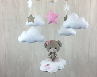 Baby mobile - teddy bear mobile - pink - cloud mobile - cloud babies - teddy bear on a cloud - star mobile - baby mobiles - nursery decor
