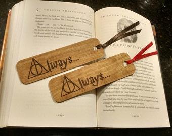 Deathly Hallows Always Wooden Bookmark