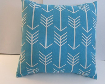 White Arrow On Apache Blue Pillow Cover, Turquoise/White Arrow Accent Pillow Cover
