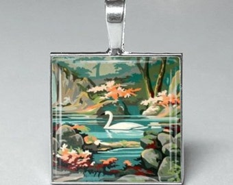 Paint by number swan duck pond glass tile pendant necklace jewelry
