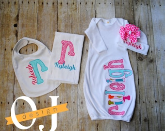 Personalized Baby Girl Gift Set - Newborn Gift Set - Infant Gown -  Newborn Hat - Bib - Burp Cloth - Baby Shower - Bright Pink and Teal