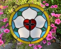 Stained glass panel Luther Rose, classic round Luther's Seal with red heart and cross, Christian gift