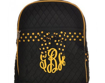 "Personalized Quilted Backpack with Bow - Large 15"" Black with Gold Accents - QSD2732-BKGD"