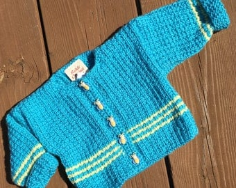 Size 3mnths, Baby Sweater,  Crochet Baby Hoodie, Baby Girl Sweater, Baby Boy Sweater