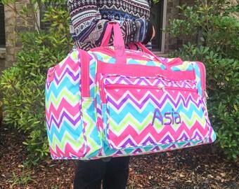 Rainbow Duffle Bag, Multicolor DUFFLE Bag, Women Duffle Bag, Women Luggage, Carry On Bag, Weekender Bag, Happy Chevron, Chevron Duffle Bag,