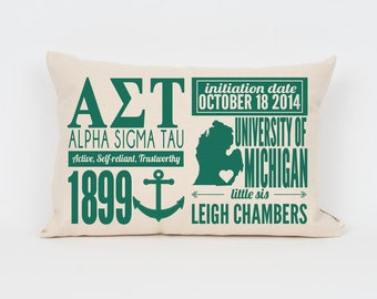 alpha sigma tau custom sorority facts pillow greek letter pillow big little gift sorority letters sorority gift dorm decor