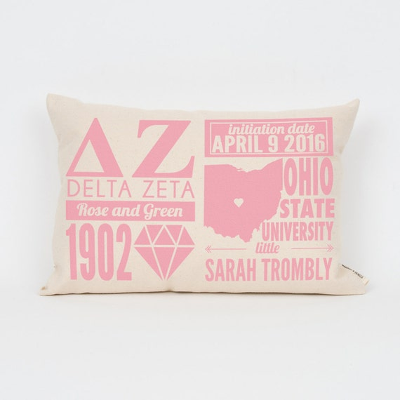 delta zeta custom sorority facts pillow greek letter pillow big little gift