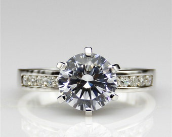 2ct Round Esdomera Moissanite Channel Accents 6-Prongs 14k White Gold Wedding Engagament Ring (CFR0179-MS2CT)