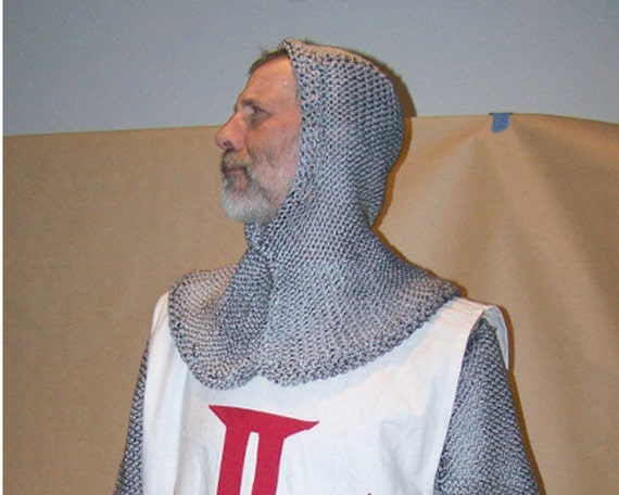 Chainmail Hood Knitting Pattern : Knitted Chainmail Hood by BrownBootsCostumes on Etsy