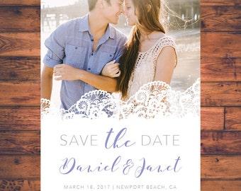 Save-the-date Lace invitation save the dates invite post card engagement invitation wedding invite digital printable WI021
