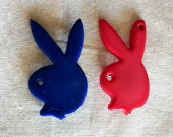 1980s Play Boy Bunny Brooches Pins Pink Blue Plastic Acrylic