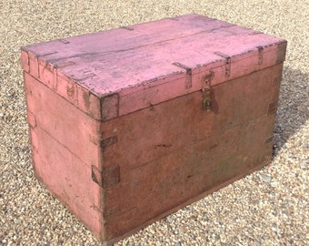 Pink Vintage Wooden Chest from Rajasthan, India