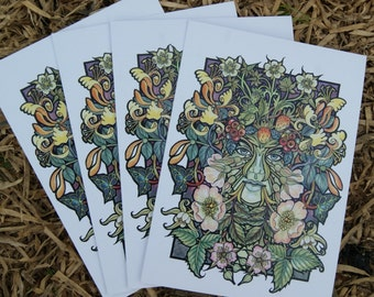 Summer green woman - pack of 4 cards