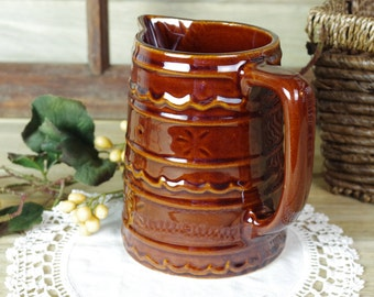 Brown Pottery Pitcher, Marcrest Pottery, Kitchenware, Pottery Vase, Brown Pottery, Rustic Home Decor, Flower Vase, Syrup Pitcher #10-2