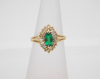 1.00 Carat Round And Baguette Cut Diamond & Birthstone Ring 14K Yellow Gold