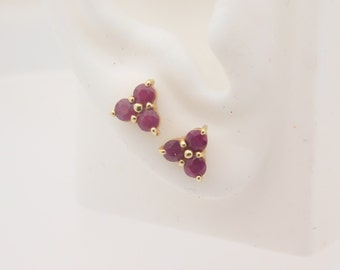 Ladies Round Cut Ruby Earrings 14K Yellow Gold