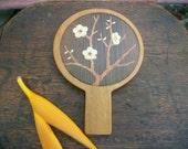 1970s Japanese Vintage Wooden Vanity Hand Mirror Beveled Edge Sakura Flower Design