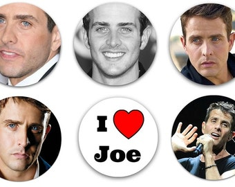 "Set of 6 Joe McIntyre 1.25"" Pinback Buttons, Flat Backs or Magnets NKOTB Joey New Kids On The Block"