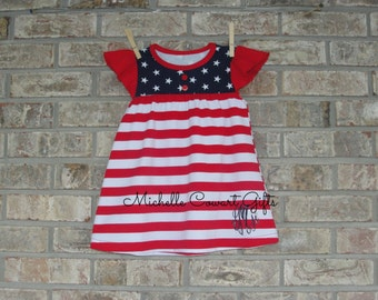 Monogrammed Dress, Girls, Toddler, 12M, 18M, 2T, 3T, 4T, Patriotic Dress, Monogram Dress, RTS, Red White Blue Dress, Monogrammed Dress, Girl