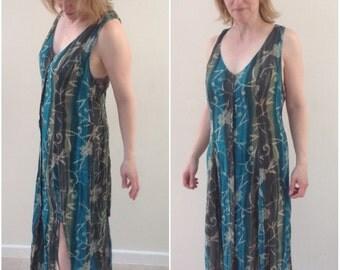 Size 10 Phool dress 12 Vintage dress 1990's dress Indian hippie dress 1980's summer beach dress maxi dress green batik dress festival dress