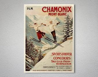 Chamonix Mont-Blanc Vintage Travel Poster - Poster Print, Sticker or Canvas Print