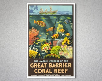 Great Barrier  Coral Reef Australia Vintage Travel Poster - Poster Print, Sticker or Canvas Print