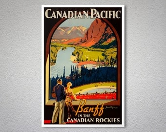 Canadian Pacific Banff in the Canadian Rockies Vintage Travel Poster - Poster Print, Sticker or Canvas Print