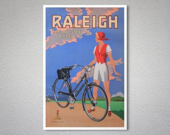 Raleigh The All Steel Bicycle Vintage Poster -  Poster Print, Sticker or Canvas Print