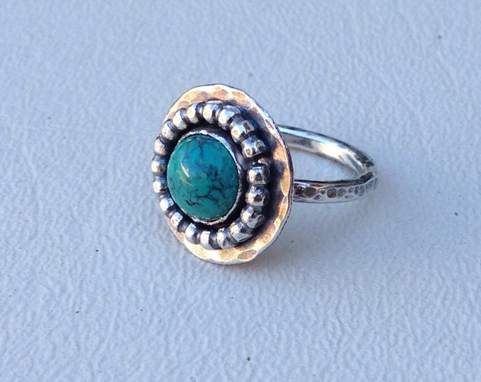 Turquoise with Sterling silver metalwork ring handmade