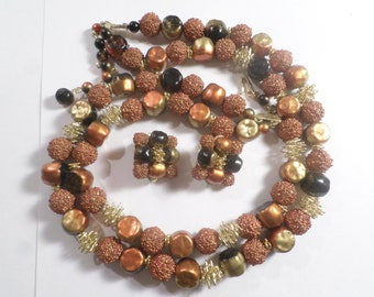 Japan, Vintage Gold Tone Multi Color Brown And Sugar Double Strand Beaded Necklace With Matching Clip On Earrings  DL#5843