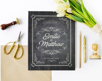 Custom guestbook for your wedding, slate vintage style roaring twenties