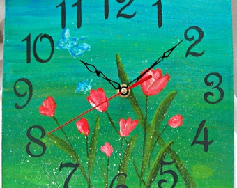 Wall Clock Spring/Hand painted/Tulips and butterflies