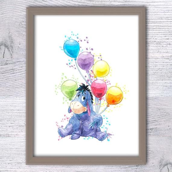 Eeyore Winnie The Pooh Nursery Wall Art Eeyore With Balloons Kid