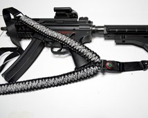 "550 Paracord Rifle Sling with Compass & Flint Firestarter Clasp 50"" Single Point Gun sling (Black + White Mix)"