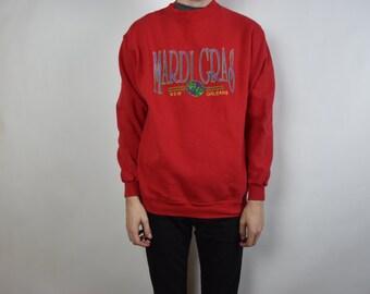 Vintage Red Mardi Gras New Orleans Sweatshirt