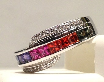 1.50 Carats Genuine Rainbow Sapphire Ring set in 925 Sterling Silver