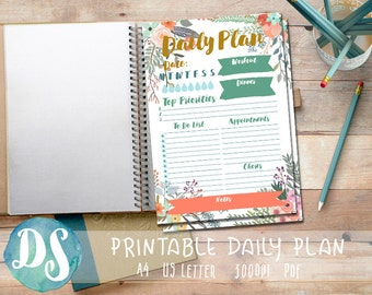 Daily Planner Printable - Floral - PDF - A4 - Letter, To Do, Appointments, Water Intake