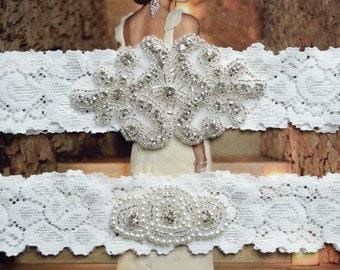 Wedding Garter Set, Crystal Rhinestone Garter Set on White Lace Garter Set with Pearl & Rhinestone
