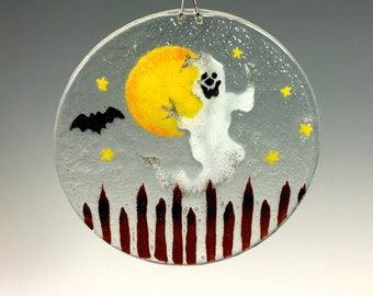 Halloween Suncatcher Ghost Window Hanging Ghost and Bat
