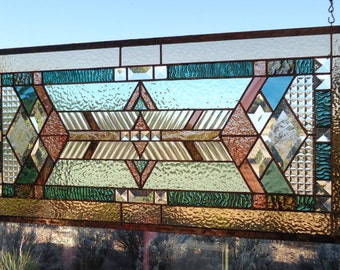 stained glass window panel,  ARTS & CRAFTS , hand poured and rolled glasses, beveled glass, prairie style, stained glass suncatcher