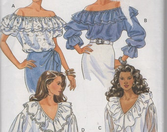 Misses Loose Fitting Ruffled Neckline Peasant Style Sewing Pattern Butterick 6717  Size 18 20 22  Bust 40 42 44  Uncut