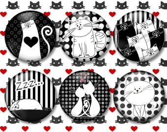 Paris Cat Button Magnets, Kitchen Fridge Magnets, Cat Lovers, Black and White, Gift for the Cat Lover – Strips and Polka Dots - MA0830