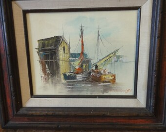 Vintage Sailboats in Harbor Oil Painting/ Signed L. Billings