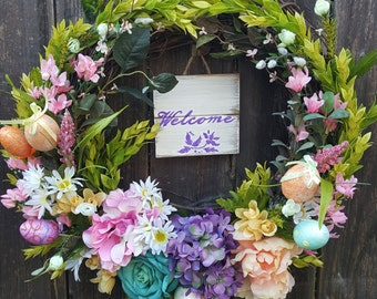 Welcome Easter Spring Cottage Wreath