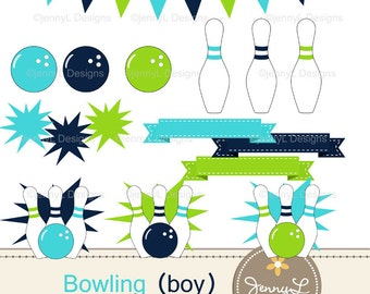 Bowling Balls, Pins, Strike Clipart for Birthday, digital Scrapbooking, Wedding, Baptism